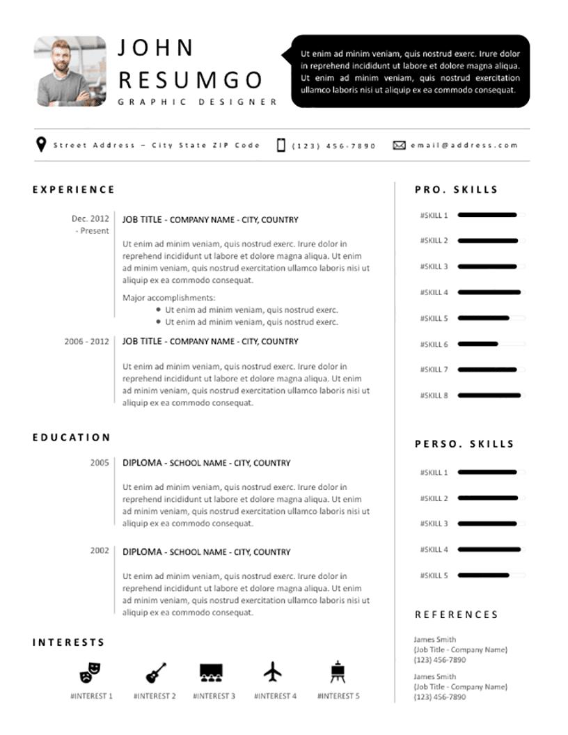 SETHOS Modern Black White Resume Template